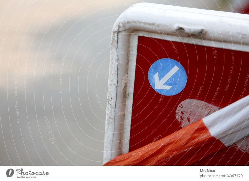 Achtung Baustelle Zeichen Pfeil Wege & Pfade Straße Verkehrswege Straßenverkehrsordnung Symbole & Metaphern Barriere Schilder & Markierungen Hinweisschild