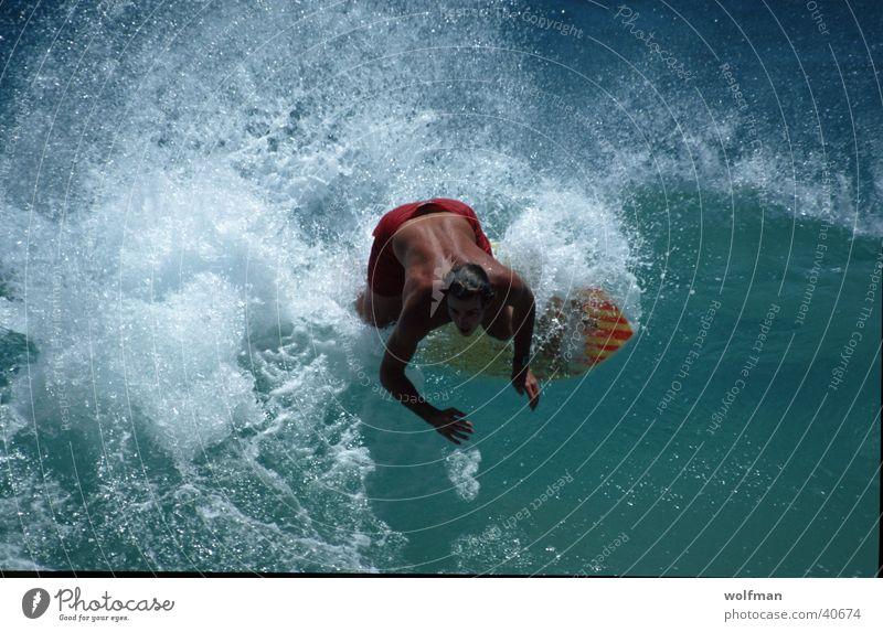 Skimboarder Wasser Meer Sport Bewegung Aktion Hawaii Waikiki