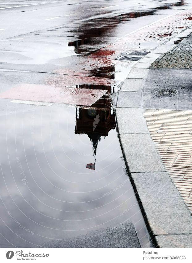 Berlins Pfützen II - Rotes Rathaus Wasser Reflexion & Spiegelung nass Außenaufnahme Menschenleer Farbfoto Straße Wetter schlechtes Wetter Regen Tag Verkehrswege