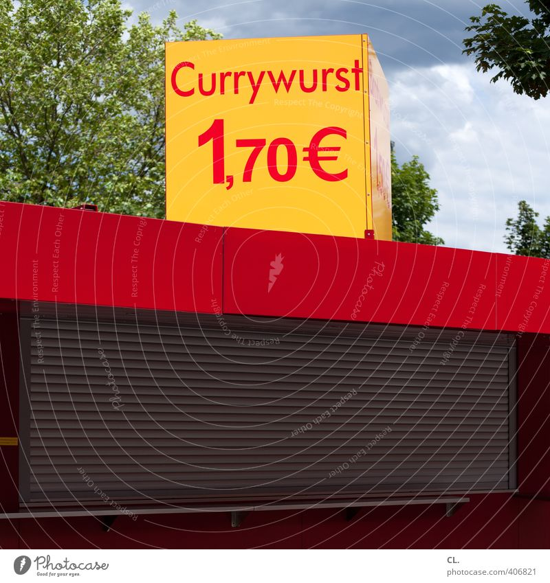currywurst Lebensmittel Wurstwaren Ernährung Essen Mittagessen Abendessen Fastfood Gesunde Ernährung Himmel Schönes Wetter Baum Fenster Diät Armut Billig