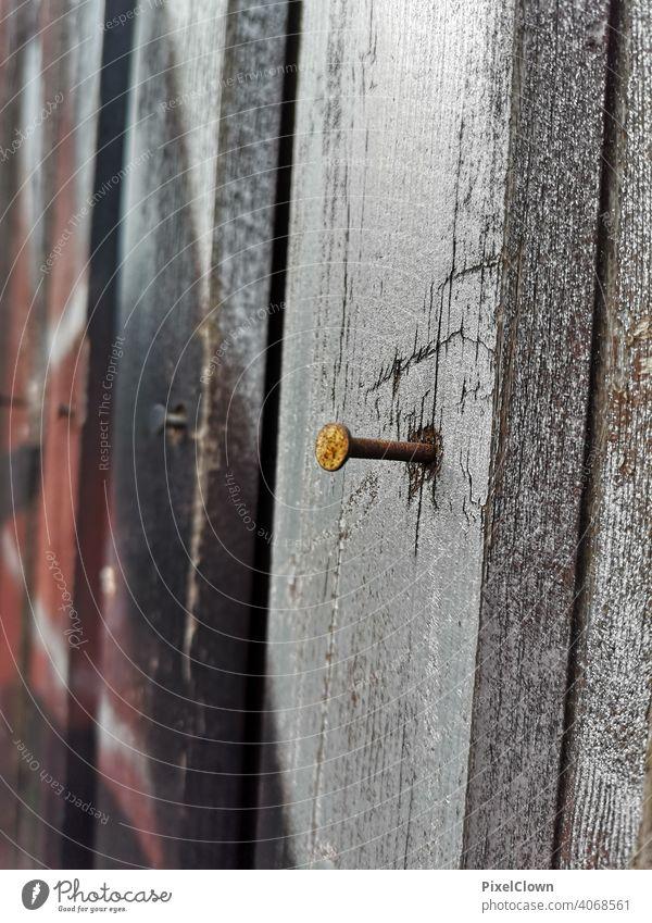 Ein Nagel in der Holzwand Handwerk Metall Farbfoto Nahaufnahme Rost Holzbrett Textfreiraum unten Najaufnahme