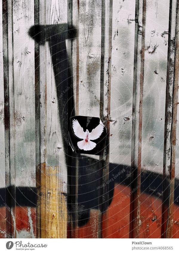 Friedenstaube als Aufkleber Schilder & Markierungen Farbfoto Zeichen Frieden, Taube, Straßenkunst Warnschild