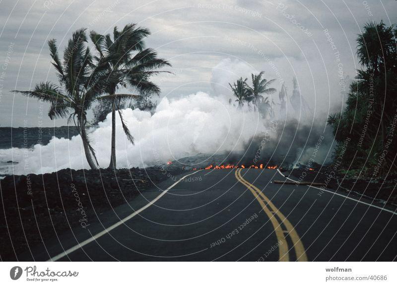 DEAD End Straße Brand Palme Wasserdampf Vulkan Lava Berge u. Gebirge Sackgasse