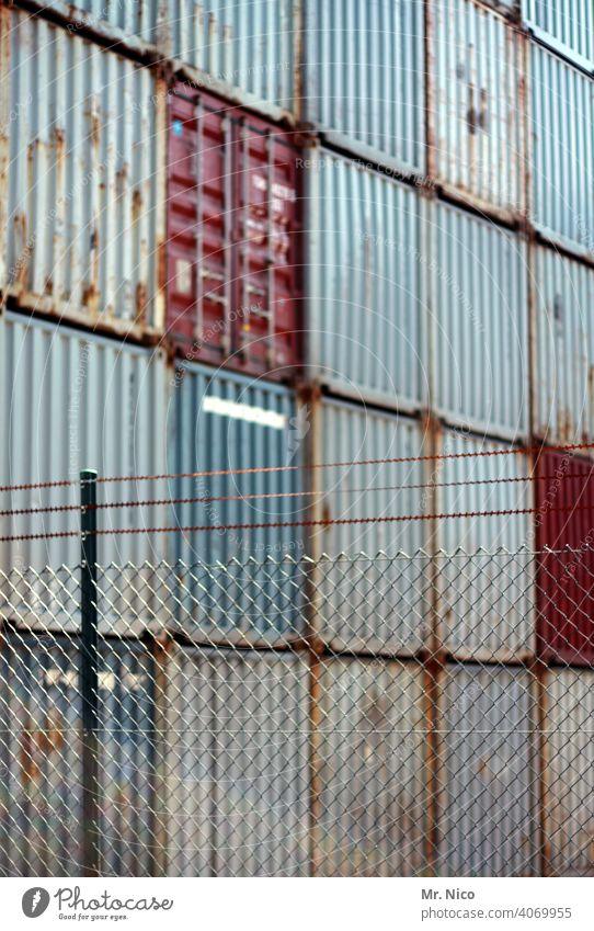 Containerterminal Arbeit & Erwerbstätigkeit Handel Containerverladung containerhafen Ladung Industriegebiet industriell Sicherheit Werksgelände
