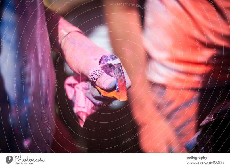 color up your life (2) Party Veranstaltung ausgehen Feste & Feiern Tanzen Mensch Arme Hand Finger 18-30 Jahre Jugendliche Erwachsene dreckig mehrfarbig