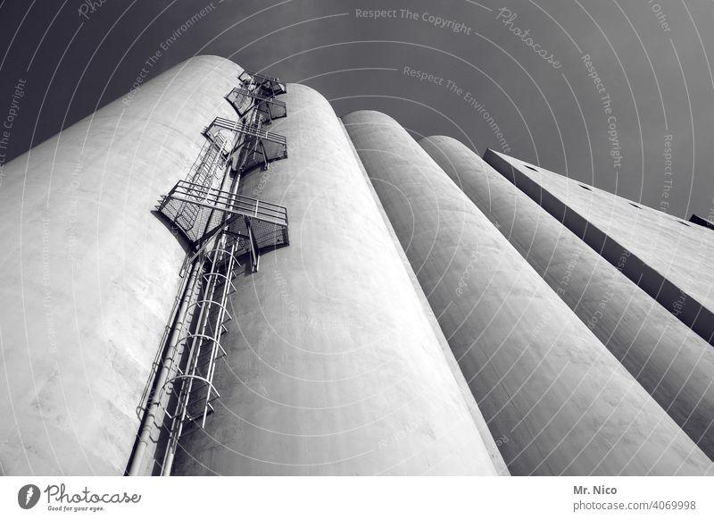 Silo Industrie Industrieanlage Industriefotografie Architektur industriell Fabrik Bauwerk Landhandel Froschperspektive Einlagerung einlagern Hafen Fassade