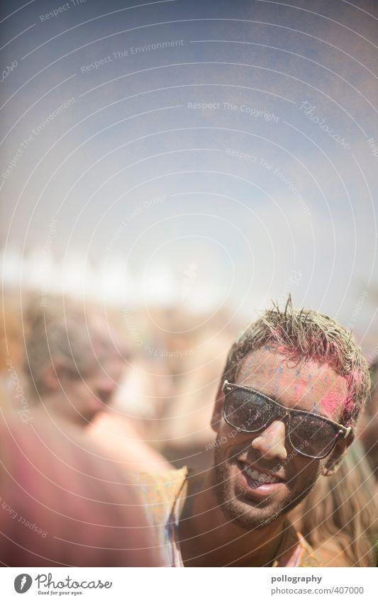 color up your life (8) Mensch Mann Jugendliche Sommer Farbe Freude Erwachsene Junger Mann Leben feminin Glück Kopf Feste & Feiern Party dreckig Tanzen