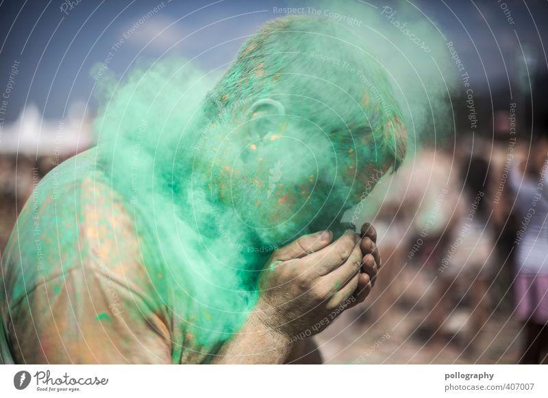 Gesundheit! Allergie Mensch maskulin Junger Mann Jugendliche Erwachsene Leben Körper Kopf Gesicht Hand 1 Menschenmenge 18-30 Jahre Himmel Sommer Wärme T-Shirt