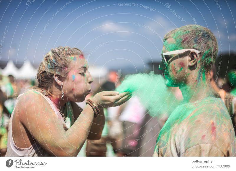 Da liegt doch ein Hauch Liebe in der Luft (1) Mensch Frau Mann Jugendliche Sommer Farbe Junge Frau Erwachsene Junger Mann 18-30 Jahre Leben Gefühle feminin Farbstoff Feste & Feiern Party