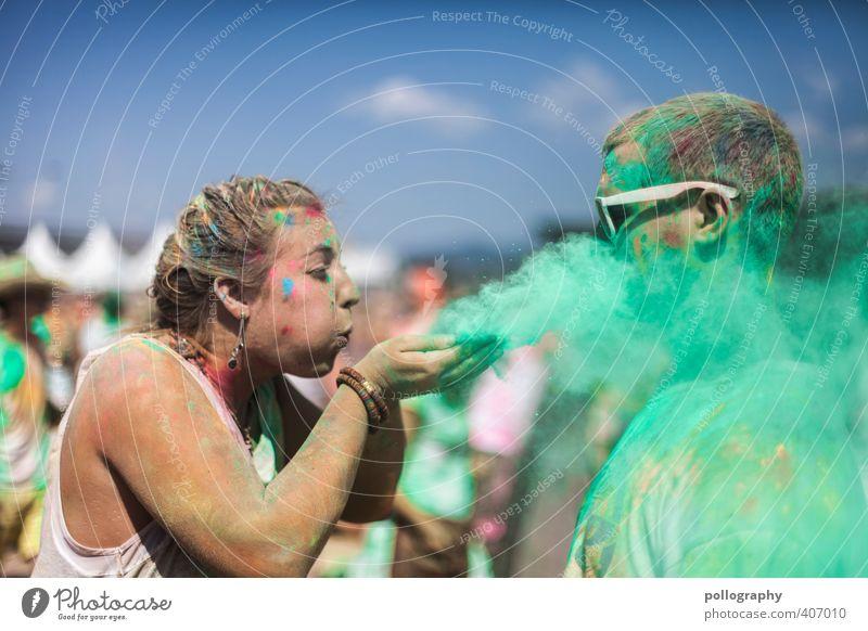 Da liegt doch ein Hauch Liebe in der Luft (2) Mensch Frau Mann Jugendliche grün Freude Junge Frau Erwachsene Junger Mann Liebe 18-30 Jahre Leben feminin Farbstoff Feste & Feiern Paar