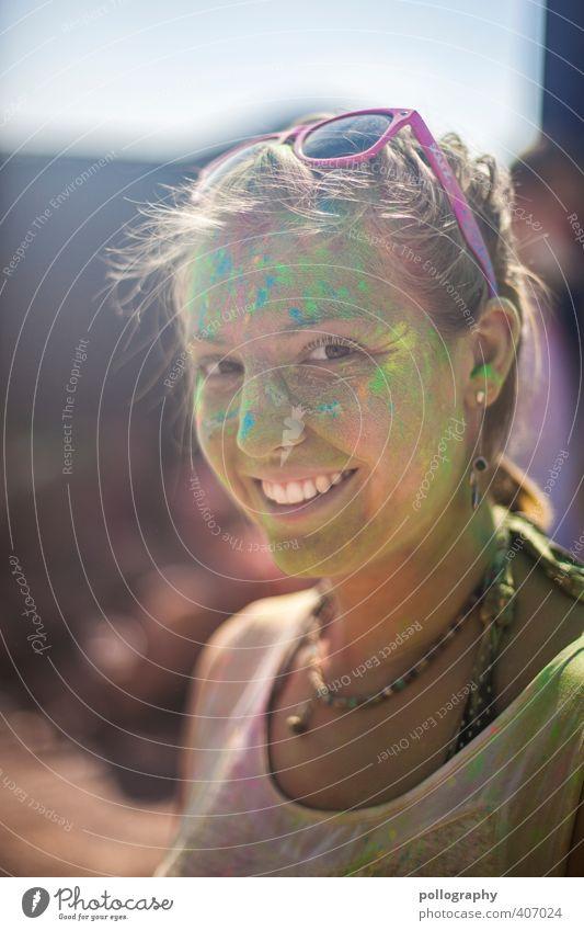 color up your life (9) Mensch Frau Jugendliche Sommer Farbe Freude Junge Frau Erwachsene 18-30 Jahre Leben Gefühle feminin Farbstoff Glück Kopf Feste & Feiern