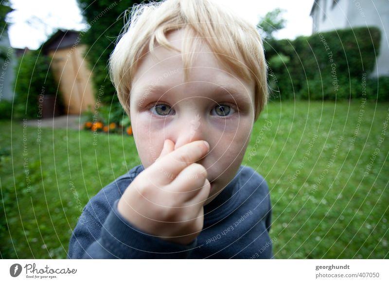 Es riecht schlecht und nach Augen. Mensch Kind Sommer Haus Gesicht Leben Gefühle Traurigkeit Junge Kopf Garten maskulin Wohnung blond Kindheit Nase