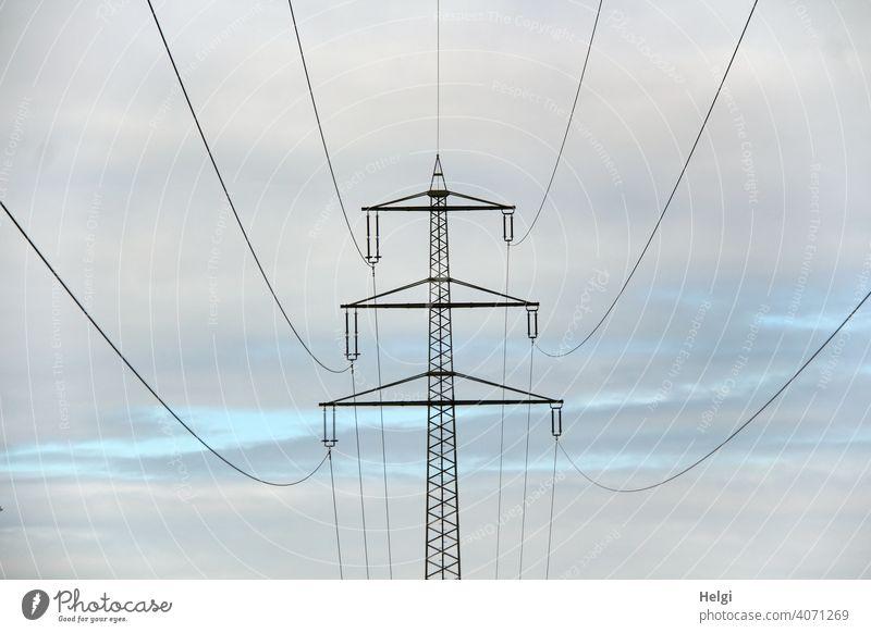 Strommast mit Hochspannungsleitungen vor bewölktem Himmel II Stromleitungen Elektrizität Energie Energiewirtschaft Technik & Technologie Leitung Kabel CO2