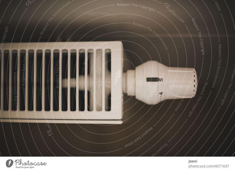 Thermostat an einem Heizkörper auf Stufe 5 eingestellt Thermostatventil Heizung Temperatur Ventil Raum zimmer Haus Wohnung fünf Einstellung einstellungen drehen