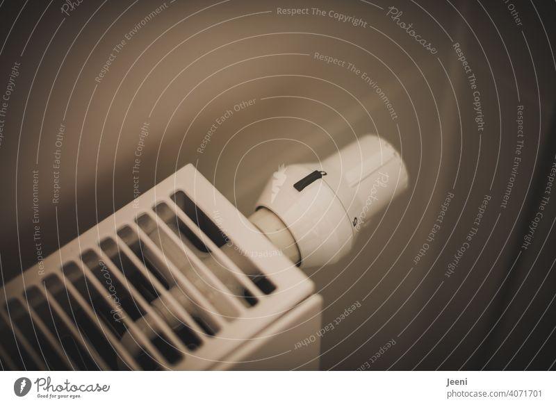 Thermostat an einem Heizkörper auf Stufe 0 eingestellt Thermostatventil Heizung null Temperatur Ventil Raum zimmer Haus Wohnung Einstellung kalte Temperatur