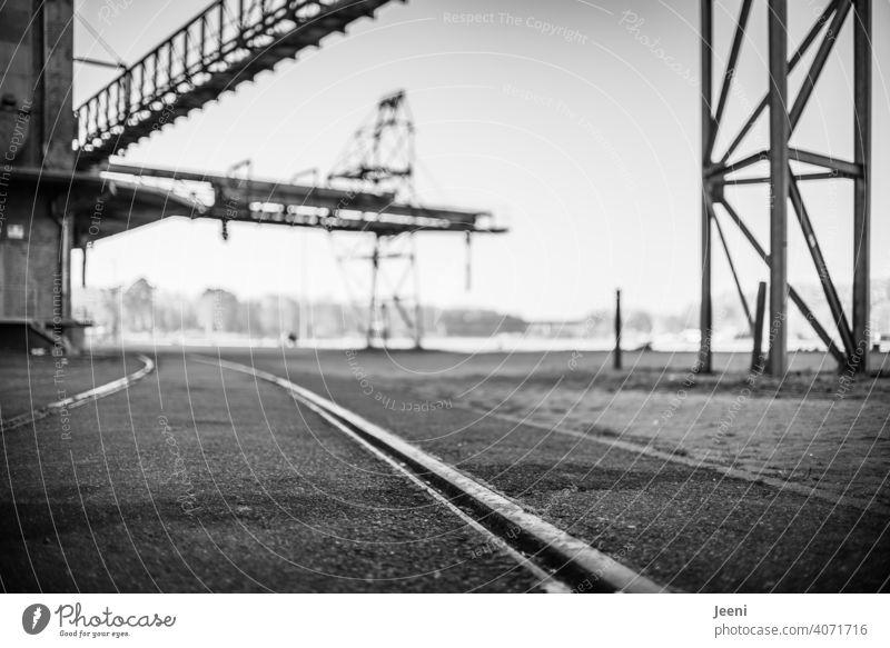 Schienen und Kräne an einer verlassenen Hafenanlage Hafengebiet Hafenkran Kran Außenaufnahme Industrie Hafenstadt Schifffahrt Wasser Schienenverkehr