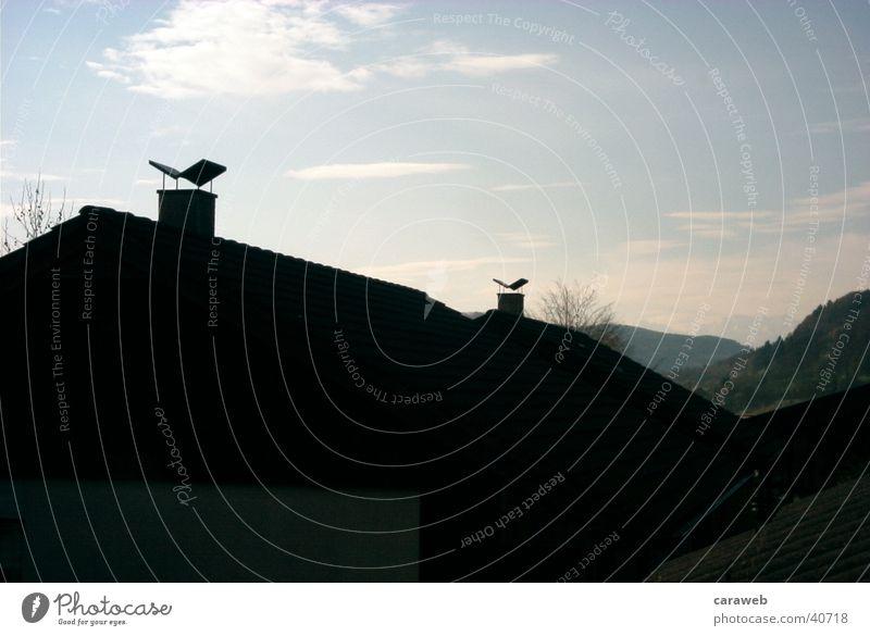 Berge in weiter ferne Haus Berge u. Gebirge Chemine Himmel Sonnenlicht Gegenlicht Silhouette Schornstein Dach Wolken 2 Menschenleer Außenaufnahme Farbfoto