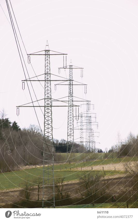 eine Reihe von Metall Strommasten in der Landschaft bei trübem Wetter Tannenmast CO2 Hochspannung Stromleitungen Elektrizität Ernergie Technik & Technologie