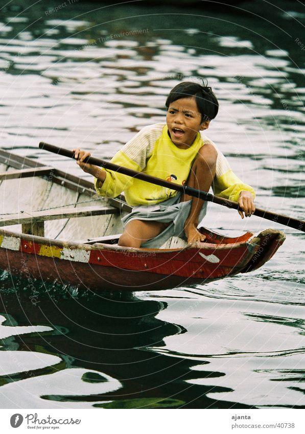Bootsjunge Kind Wasser Freude Auge Junge Wasserfahrzeug Asien Vietnam