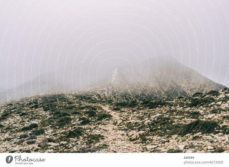 bewölkter tag mit nebel in den bergen des naturparks der häfen, in tarragona (spanien) angefressen mehrschichtig Schlucht Natur im Freien Reiseziele