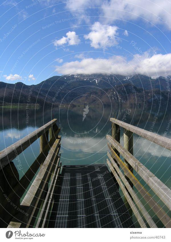Steg am See Himmel Berge u. Gebirge Holz Aussicht