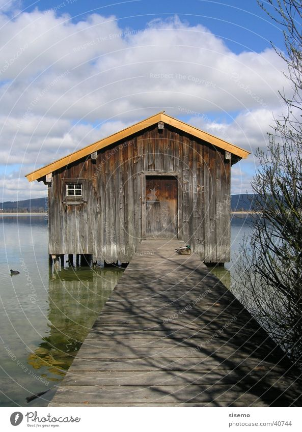 Bootshaus Haus See Steg Holz Hütte Himmel