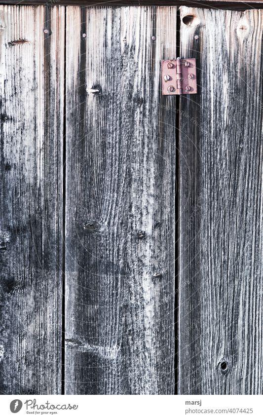 Altes, rotes Scharnier an rustikaler, verwitterter Bretterwand. Holzwand alt braun Farbfoto einfach Wand Nahaufnahme Strukturen & Formen natürlich verwaschen