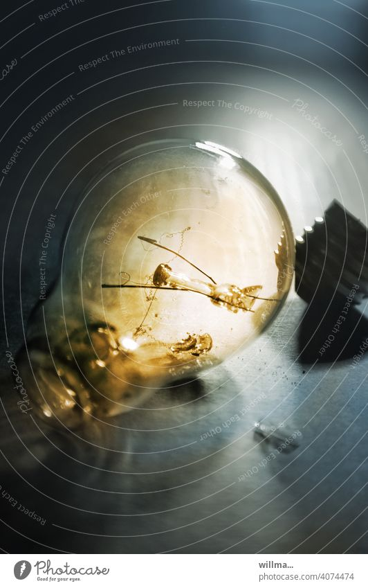 fassungslos Glühlampe Glühbirne durchgebrannt Fassung Leuchtmittel kaputt Licht Beleuchtung leuchte Energiewirtschaft Elektrizität Kunstlicht Lampenfassung