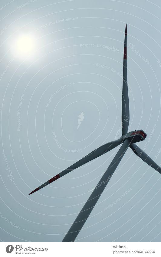auch eine sonne kann schon mal ins schwitzen kommen ... Windrad Windkraftanlage Turbine Elektrizität Energie Ökostrom Sonne moderne Windkraftanlage