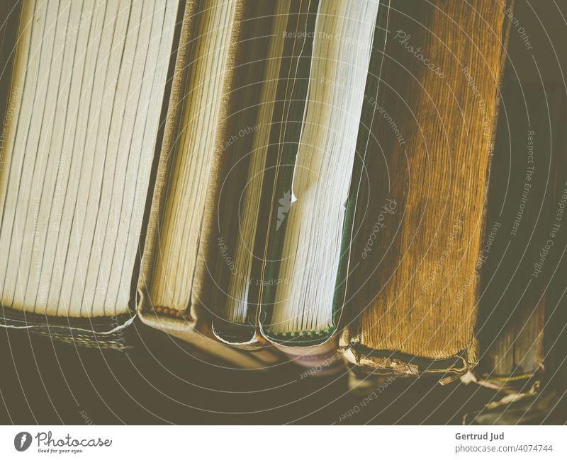 Eine Reihe alter Bücher von schräg oben fotografiert Buch Lesen Stillleben Bildung Literatur lernen Wissen Lesestoff Roman Bibliothek Papier Stapel