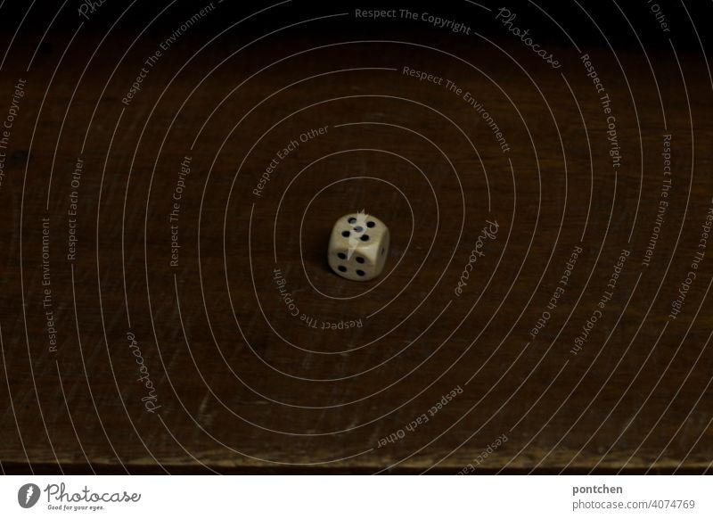 ein Würfel zeigt 5 würfelaugen. gesellschaftsspiel, würfelglück zahl fünf spielen spielsucht Glücksspiel Würfelspiel Ziffern & Zahlen werfen würfeln Zufall