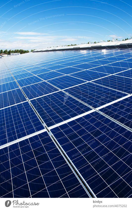 Eine Fläche von vielen photovoltaikmodulen. Solarkraftwerk auf einem Industriedach , viele Solarpaneele , Photovoltaik Sonnenenergie Solarenergie