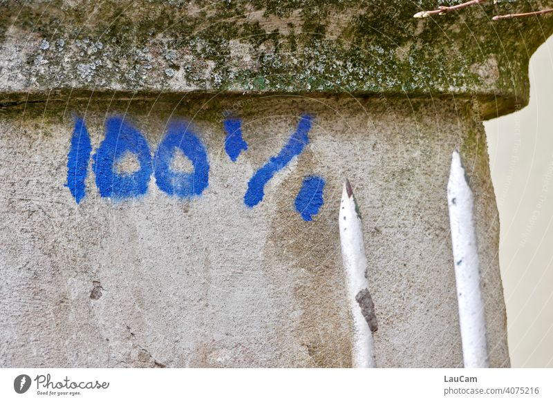 Blaues Graffiti 100% auf einer grauen bemoosten Mauer mit zwei weißen Zaunzacken 100%-Bildausschnitt Schriftzeichen Wort Zahl Zahlen Ziffern & Zahlen