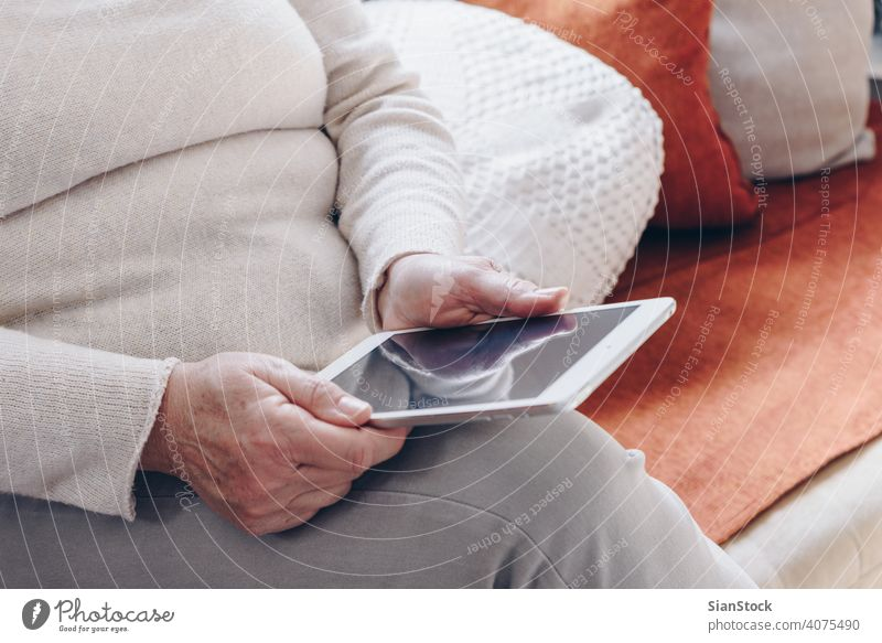 Ältere Frau mit Tablette Mitte Lebensalter Person Technik & Technologie gealtert Blick Internet Fett korpulent haevy Business lesen digital älter Bildschirm