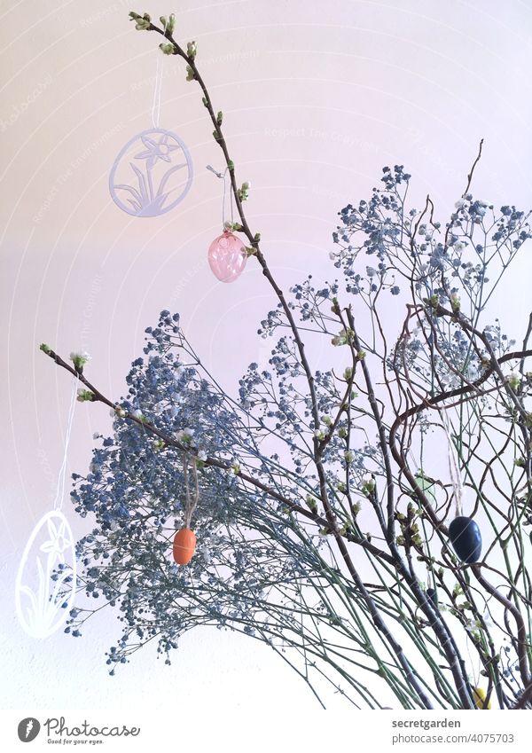Happy Easter! Ostern Osterstrauch Osterhase Osterei Deko Dekoration & Verzierung dekorativ Farbfoto Frühling Feste & Feiern Tradition Ei Design Studioaufnahme