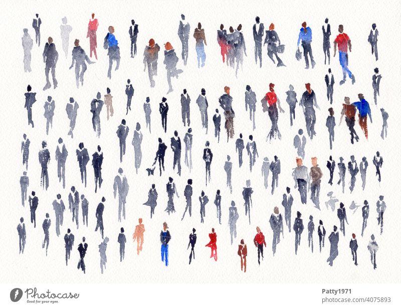 Abstrakte menschliche Silhouetten in Aquarell gemalt Menschen Leute Gruppe viele Kreativität Kunst Wasserfarbe malen Freizeit & Hobby abstrakt mehrfarbig