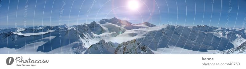 Wildspitze, Snowboarding in Österreich Sonne Winter Schnee Winterurlaub Berge u. Gebirge Skipiste Skigebiet Himmel Horizont Sonnenlicht Schönes Wetter Eis Frost