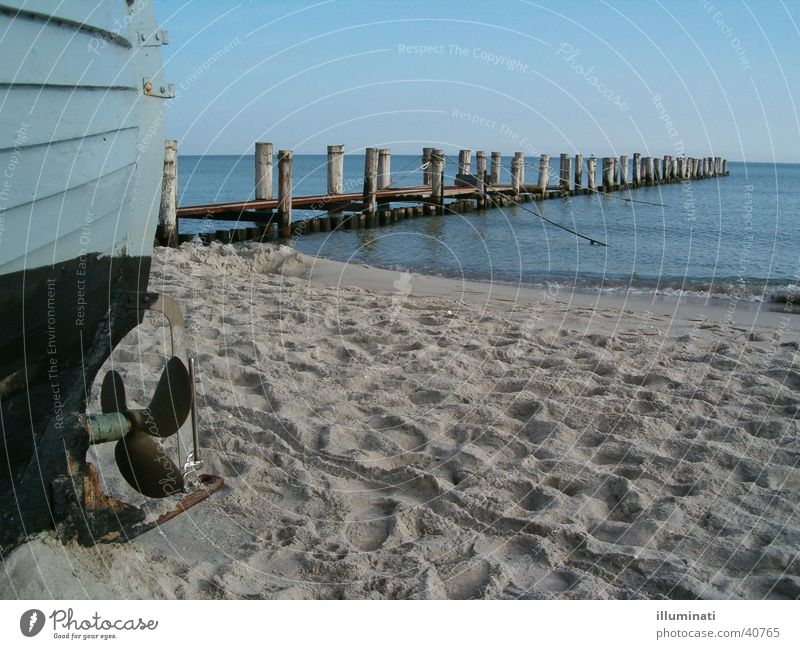 boot am meer Wasser Meer Strand Sand Wasserfahrzeug Steg