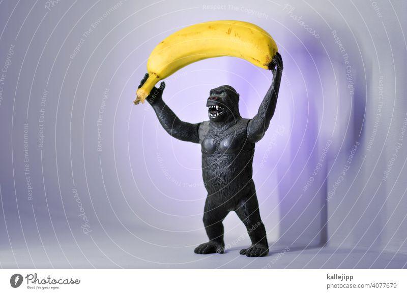 bananenrepublik Gorilla Affen Tier Farbfoto 1 Säugetier Menschenaffen schwarz Urwald wild Afrika Fell Tierwelt Spielzeug Plastik Monster Natur Banane
