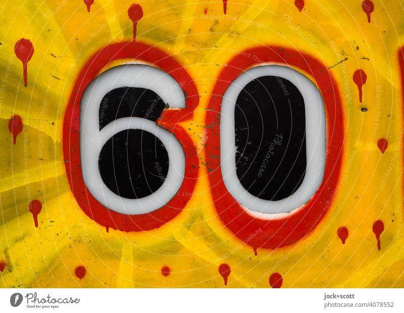 60 farbenfroh gestaltet Ziffern & Zahlen Metall Schilder & Markierungen Typographie Dekoration & Verzierung Graffiti ausgeschnitten Detailaufnahme umrandet