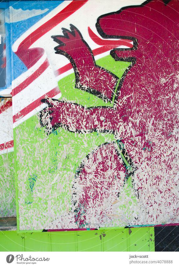Berliner Bär platt und verkratzt Wappen Spanplatte Wappentier Symbole & Metaphern Stil Zahn der Zeit verwittert authentisch Grafik u. Illustration