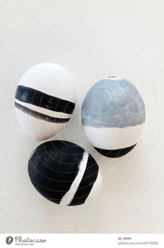 Easter Style Ostern Dekoration Stil schwarz weiß grau stylisch streifig gestreift Ostereier modern Dekoration & Verzierung Frühling Tradition Feste & Feiern Ei