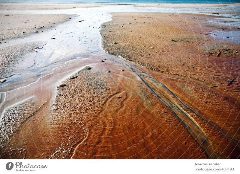Mäander harmonisch Sinnesorgane ruhig Meditation Urelemente Sand Wasser Küste Meer Ornament Linie mehrfarbig Leben Wandel & Veränderung Wege & Pfade Ocker