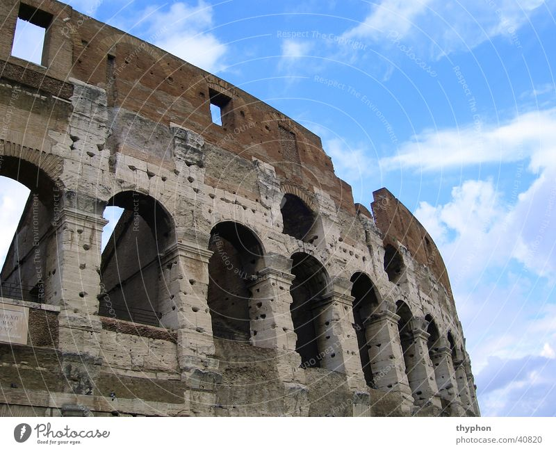 Colosseum (Detail) Himmel Mauer Europa Ruine Rom Bogen Kolosseum