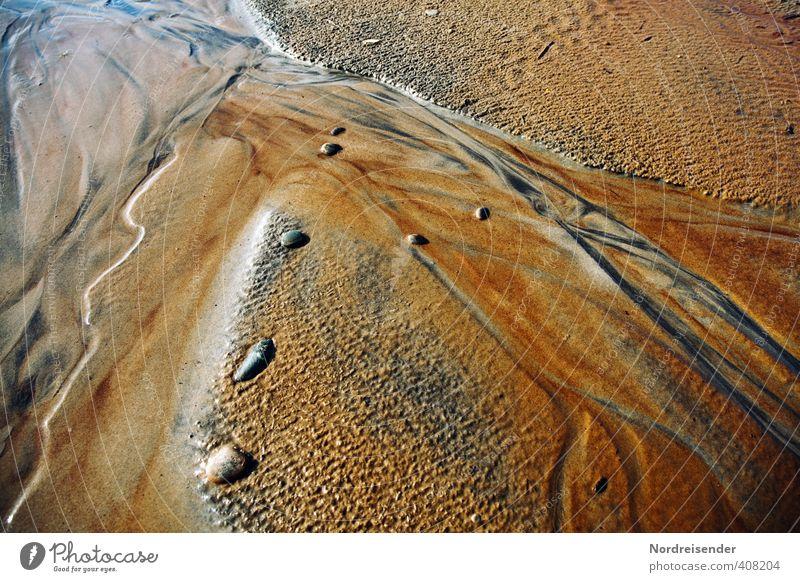 Mineralfarben harmonisch ruhig Meditation Meer Zeitmaschine Urelemente Sand Wasser Küste Ornament Linie Netzwerk exotisch mehrfarbig Leben Surrealismus Ocker