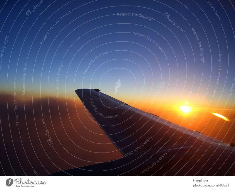 Sonnenuntergang über den Wolken Luft Luftverkehr Flügel