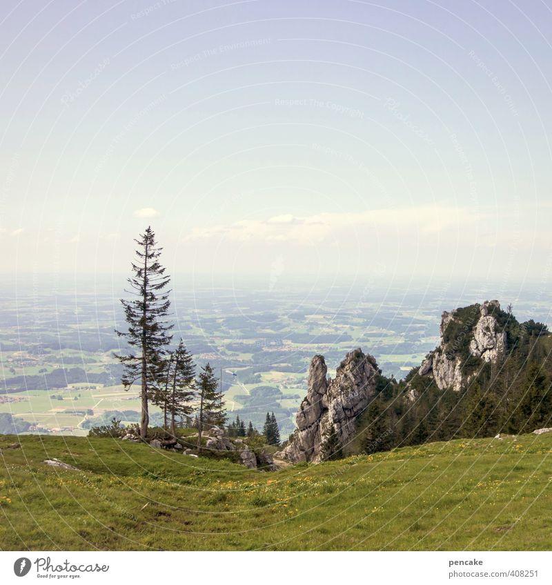AST6 Inntal | fernblick Natur Landschaft Himmel Sommer Schönes Wetter Wald Alpen Berge u. Gebirge Kampenwand Ferne Chiemsee Fichte Felsen Alm Farbfoto