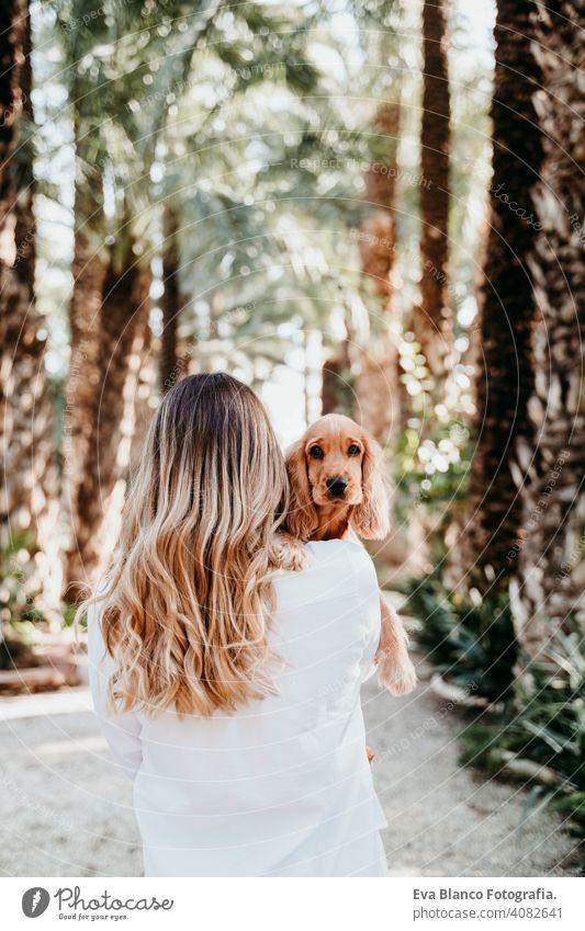 junge Frau und ihr niedlicher Cockerspaniel-Welpe im Freien in einem Park Hund Haustier sonnig Liebe Umarmung Lächeln Rückansicht Kuss züchten Reinrassig schön