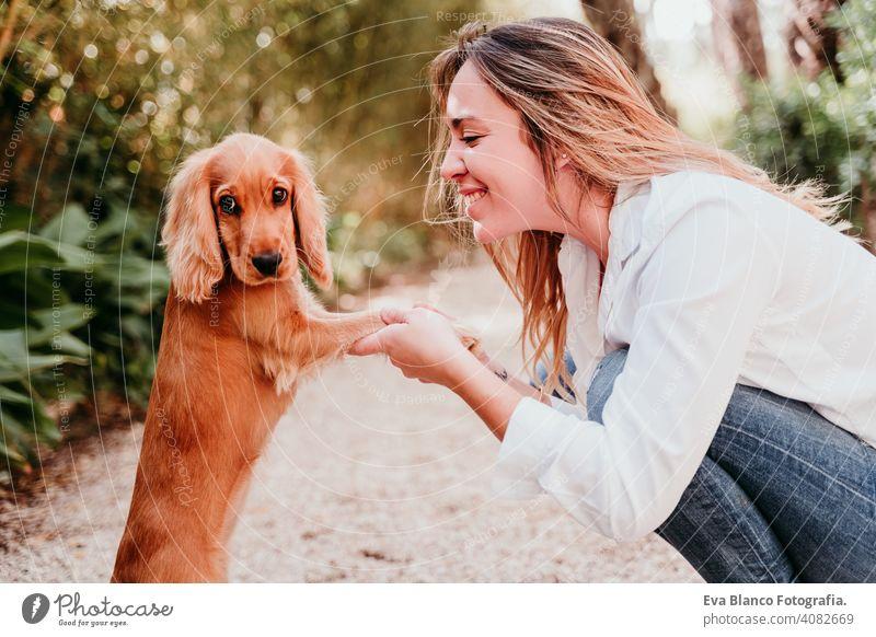 junge Frau und ihr niedlicher Cockerspaniel-Welpe im Freien in einem Park Pfoten high five Hund Haustier sonnig Liebe Umarmung Lächeln Kuss züchten Reinrassig
