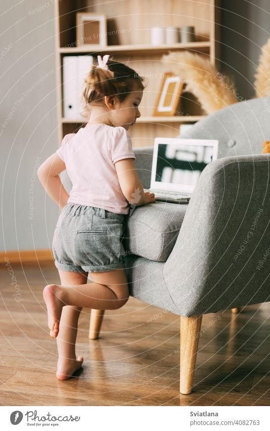 Ein charmantes Mädchen spielt oder schaut Cartoons auf ihrem Laptop. Kindheit, Erholung, Cartoon Zeit wenig Computer Blick Karikatur online Internet niedlich